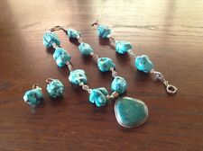 earrings with ss/turquoise pendant Wow Turquoise nugget necklace bracelet and