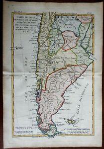 Chile Patagonia Tierre del Fuego Falkland Islands 1780 Bonne engraved map