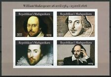 More details for madagascar 2019 mnh william shakespeare 4v impf m/s writers famous people stamps