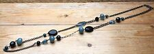 Lovely Eclectic Bead Necklace/Blue/Green/Jet & Glass Effect/Hippy/Boho/Ethnic