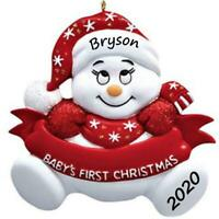 NEW 2020 RED GIRL/BOY LIGHTING TREE BABY'S FIRST CHRISTMAS PERSONALIZED ORNAMENT