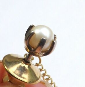 Vintage Tie Pin Tie Tack Gold Tone Claw Set Lustrous Imitation Pearl FREE P&P