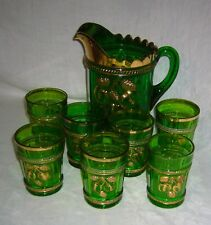 ANTIQUE 1910 NORTHWOOD GLASS CO. EAPG PEACH GREEN & GILT PATTERN GLASS WATER SET
