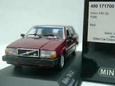 WOW EXTREMELY RARE Volvo 740 GL Sedan 2.3L 1986 D.Red 1:43 Minichamps-240/850/ES