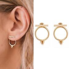 1Pair Simple Women's Earrings Geometric Round Circle Ear Stud Jewelry TS #F