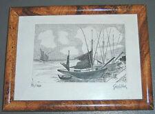 Gravure Eau-forte, Guillet,  bateaux au port