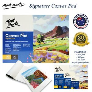 A3 A4 A5 Mont Marte Canvas Pad 10 Sheets 280gsm Acid Free Oil Acrylic Painting