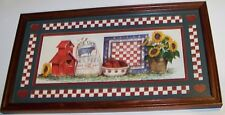 Framed w Glass Matted Country Print barn feedsack apples checkerboard sunflowers