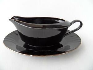 Vintage Kyoto imperial porcelain Mystique swirl black gravy jug & under dish