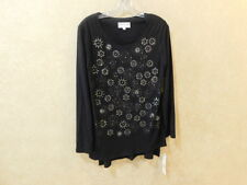Lily & Taylor Women's 8 Bling Stars and circles Black Blouse Long ________R16D2