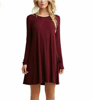 Plus Size Women's Casual Long Sleeve Solid Loose Tunic Top Shirt Blouse Dress