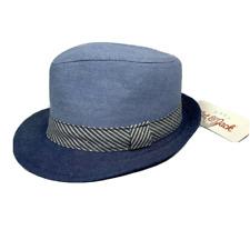 Cat & Jack Baby Boy Blue Chambray Fedora Hat Brim Stripe Size 0-6 Months