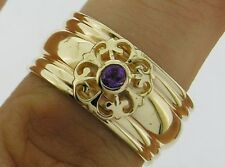 R061A- Solid Heavy 9ct Gold NATURAL Amethyst WIDE Band Ring Fleur-de-Lis size P