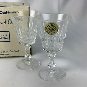 !Vtg Elegant French Lead Crystal Cordial Footed 2 Glasses Blown France Cut glass