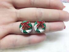 1 pair Christmas round wreath Gift Round zircon festival earrings men women