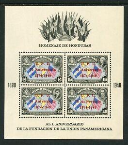 Honduras Scott #C187 MNH S/S UPU 75th on Pan-American Union 50th ANN CV$8+ TH-1