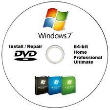 Windows 7 Installation / Repair DVD 64 bit versions Home Pemium, Pro, Ultimate