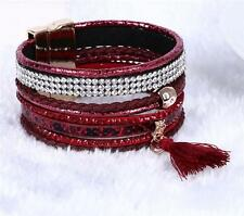 Faux Leather Wrap Bracelet Bangle Magnetic Cuff Crystal Rhinestone Fashion Punk