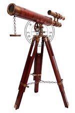 Vintage Antique Brass Double Barrel Telescope Marine Wooden Tripod Desk Spyglass