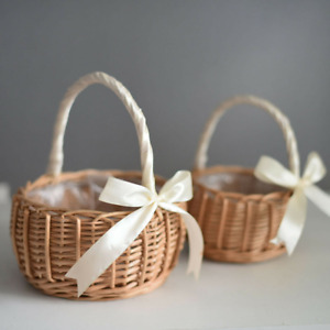Bridesmaid Wedding Flower Girl Natural Lined Wicker Flower Pot Candy Basket UK
