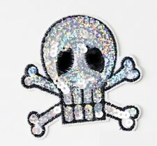 SEQUINS SKULL & CROSS BONES PATCH IRON ON 8.5X9CM SILVER AND BLACK