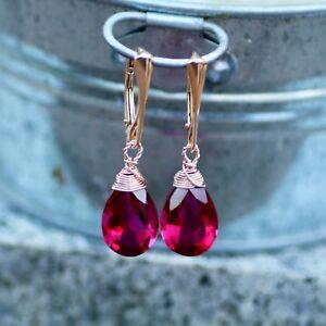 Rubellite Pink Tourmaline Earrings Rose Gold Vermeil , Lever Backs October