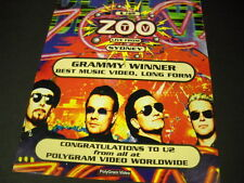 U2 Zoo Tv Live From Sydney Grammy Winner 1995 Promo Poster Ad mint condition