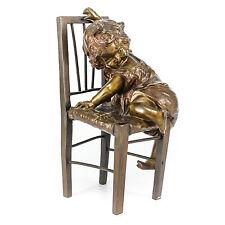 Clara, Juan Spanish 1875-1958 Bronze Figural Sculpture Girl & Chair Foundry Mark