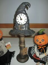 NWT Witch's Hat Working Mantle Clock Pedestal Halloween Decor Prop Resin-Nice!