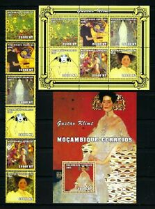 Mozambique 2001-2 Sc#1479a-d,1479,1494  Art-Paintings by Gustav Klimt  MNH $42