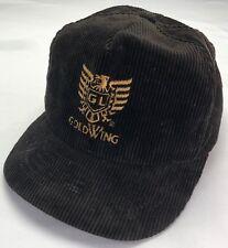 True Vintage 70s 80s Honda Gold Wing GL Motorcycle Black Corduroy Snapback Hat