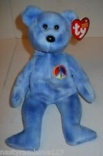 "TY BEANIE BABY 9"" PLUSH 10YR ""PEACE BEAR"" BLUE W/RAINBOW PEACE SIGN, TAG ERROR!"