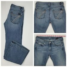 Seven 7 for all Mankind DOJO Flare Medium Wash Distressed Jeans Size 27 x 30