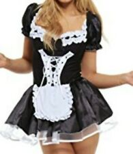 French Maid Waitress Fancy Dress Costume Womens Hen