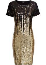 Paillettenkleid 36 38 schwarz gold Abendkleid Party Kleid Glitzer Minikleid neu