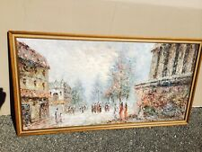 "Marie Charlot - Paris - Large Framed Canvas Oil Painting 26.5 X 51"" Signed Old"