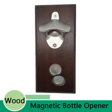 Bottle Opener & Magnetic Cap Catcher Combo Wood Wall Mount Refrigerator Magnet