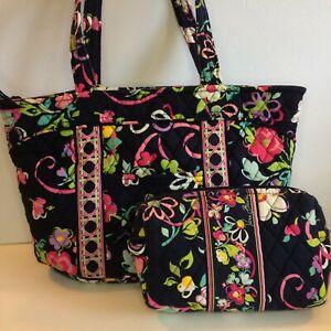 Vera Bradley RIBBONS Mandy handbag purse & Medium Zip Cosmetic Case