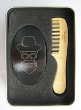 Comb and brush set for men BARBER STYLE for beard and mustache boar hair bristle