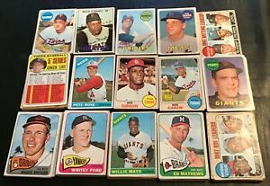 """1965 - 69 Topps BB """"Crying Shame"""" lot, 200 diff...Mays, Rose, Mantle, Aaron, HOF"""