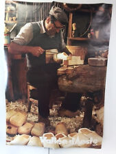 VINTAGE ORIGINAL VALLE D'AOSTA ITALIAN TRAVEL POSTER, WOOD SHOEMAKER, 27 X 29