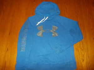 UNDER ARMOUR BLUE FUNNEL NECK HOODED SWEATSHIRT WOMENS XL NICE CONDITION