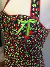 NANETTE LEPORE Cherry Harvest Dress Size 4 1950's Pin Up Style Retro Sundress