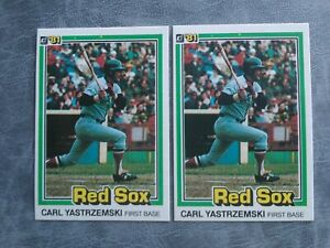 1981 Donruss Baseball Cards #94 Carl Yastrzemski TWO CARDS.