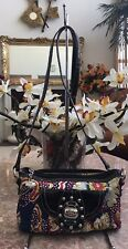 Kathy Van Zeeland Blue Multicolor Floral Satin Croc Leather Cross-Body Bag EUC