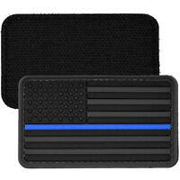 US Flag Blue Line Police PVC Morale Patch 3D Tactical Badge Hook #51