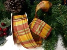"""20mts """"CHRISTMAS TARTAN"""" WIRED RIBBONS TREES WREATHS BOWS GIFTS BAUBLES CRAFTS"""