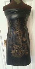 Oasis Da Donna Nero in finta pelle PU Mini Abito petto uk10 eu36 us6 c30ins c76cms