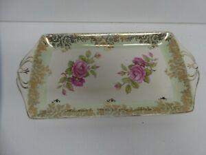 ROYAL HARVEY PINK ROSES ART DECO CAKE PLATE DISH SANDWICH TRAY STAFFORDSHIRE