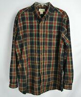 LL Bean Traditional Fit Scotch Plaid Flannel Shirt Black / Red Reg Size L